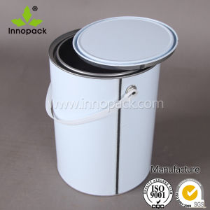 4L /5L/6L Silver Metal Can with Lid White Painted Bucket with Handle pictures & photos