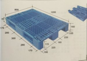 Shelf Plastic Pallet 1200lx800wx160hmm Grid with The Shape of Chuan in Green Colour