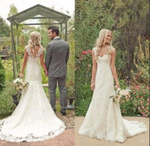 Cap Sleeves Lace Bridal Wedding Dress A-Line Wedding Gown W16225 pictures & photos