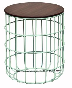 Morden Industrial Dining Coffee Green Metal Wire Wooden Top Table pictures & photos
