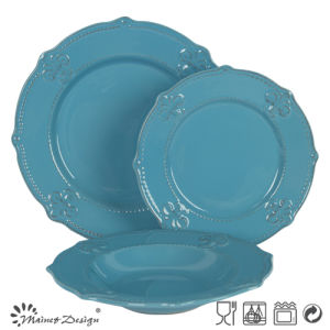 Classic Hot Sale Stonware Blue Color Embossed Dinner Set 18PCS pictures & photos