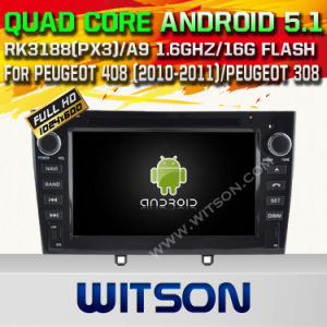 Witson Android 5.1 Car DVD GPS for Peugeot 408 (2010-2011) /Peugeot 308 with Chipset 1080P 16g ROM WiFi 3G Internet DVR Support (A5634) pictures & photos