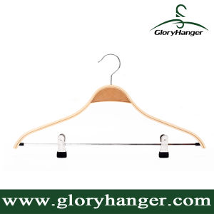 Hanger Factory Wholesale Laminated Wood/Bamboo Clothes Hanger with Anti-Slip Shoulder pictures & photos