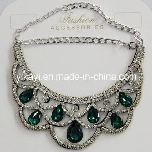 Lady Fashion Jewelry Green Waterdrop Glass Crystal Collar Necklace (JE0196-green) pictures & photos