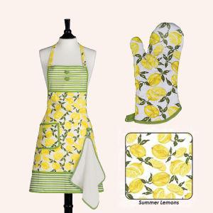 Kitchen Cotton Custom Printed Apron Glove Oven Mit Set pictures & photos