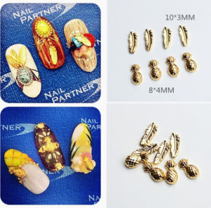 Hot Selling Japanese Style Gold Color Pineapple Feather Designs Alloy Nail Art Decoration pictures & photos