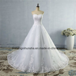 New Bottom Lace Wedding Dress Strapless Elegant Wedding Gown pictures & photos