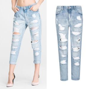 Lady′s Cotton Casual Leisure Denim Jeans Pants