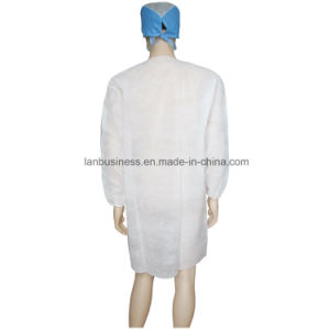 Velcro Collarless White Cheap Lab Coat with Elastic Cuffs pictures & photos