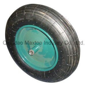 Cross Pattern Poland Market Pneumatic Rubber Wheel with Axle pictures & photos