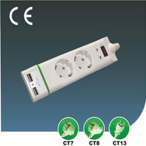 European Outlet Extension Socket with USB Two Ways pictures & photos
