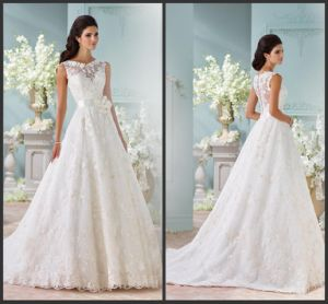 Sheer Bridal Gown Cream Lace Flower A Line Wedding Dress S201755