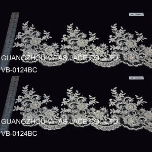 Ivory Polyester Mesh Bridal Lace Trim for Wedding Dress Vb-0124bc