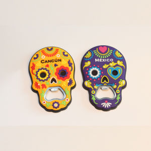 Skull Shape Decorated PVC Fridge Magnets with Bottle Opener Function pictures & photos