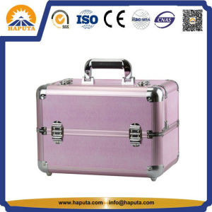 Fashion Pink Aluminum Beauty Case Cosmetic Case with Slide Trays for Cosmetic Set (HB-6303) pictures & photos