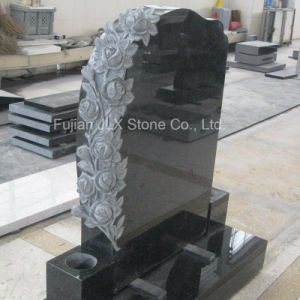 UK Style Black Granite Headstones with Roses Carving pictures & photos