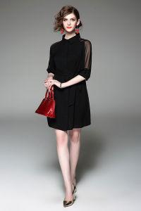 Customize Pure Color Lapel Ol Business Dress of Black Chiffon Shirt Skirt Dress Shirt pictures & photos