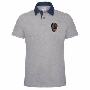 Fashion Mens Embroidered Grey CVC Polo Shirt (A665)