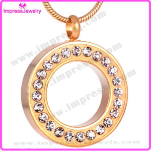 Gold Palting Round Cremation Pendant Necklace Crystal Paved Ashes Keepsake Holder for Love (IJD8515) pictures & photos
