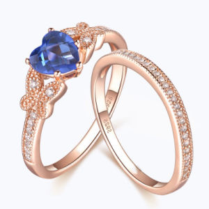 Butterfly with Heart Cut Sapphire Ring -Set- 35 pictures & photos
