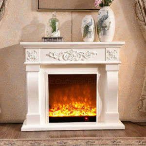 Simple European White LED Lights Heating Electrical Fireplace (324) pictures & photos