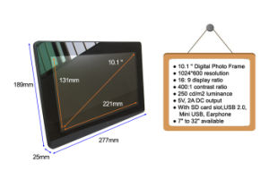 Tempered Glass Advertising Player 10 Inch Digital Photo Frame Motion Sensor pictures & photos