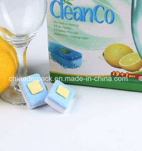 OEM&ODM No Phoaphate Lemon Fragrance Dishwashing Tablets, Yellow Square Core Dishwashing Tablets, with Water Souble Film Dishwashing Detergent Tablet pictures & photos