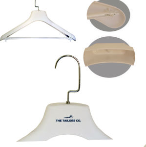 Plastic Coat Hanger White Rubber Coated Plastic Hanger with Custom Logo pictures & photos
