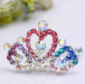 Crystal Rhinestone Kids Princess Birthday Party Girl Women Gift Fashion Hair Comb Clip Crown Jewelry pictures & photos