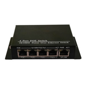 Mini Wall Mounted 5 Port Poe Switch Vlan Support 10/100Mbps with 4 Poe Port and 1 Data Uplink External 60W Power Adapter pictures & photos