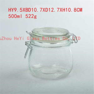Clear Food Glass Jar Storage Glass Jar Glass Seal Jar with Lid 500ml pictures & photos