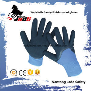 13G Polyester 3/4 Nitrile Sandy Finish with Nitrile Smooth Coated Glove pictures & photos