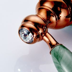 Flg Brass Rose Gold and Jade Painting Basin Sink Mixer pictures & photos