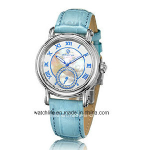 Fashion Diamond Quartz Leather Strap Sapphire Lady Wrist Watch pictures & photos