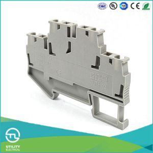 Dinrail Terminal Block Spring Type Jut3-4/2 Wago Screwless Wiring Connector pictures & photos