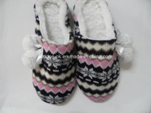 Custom OEM Ladies Knitted Indoor Slippers Footwear Women Knit Shoes pictures & photos