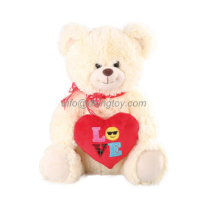 Custom Plush Toy Two Color Teddy Bear with Emoji Heart and Silk Ribbon pictures & photos