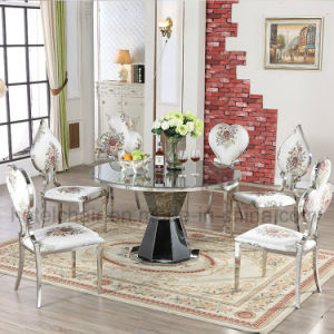 Promotion Steel Base Marble Top Round Dining Table pictures & photos