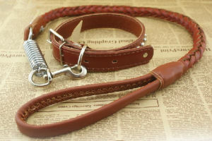 Pet Dog PU Leather Collar & Leash (lsh2013) pictures & photos