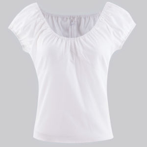 Girls Top Boat Neck Blouse Cotton Sihgle Color Shirt pictures & photos