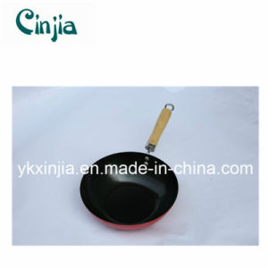 Kitchenware Carbon Steel Chinese Wok with Wood Handle pictures & photos
