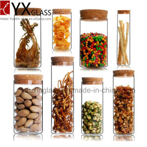 Made in China Borosilicate Handmade Glassware Heat Resistant Glass Jar with Wood Lid Glass Storage Jar Collection Storage Tank pictures & photos