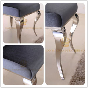 Soft Velvet Fabric Bending Legs Sliver Stainless Steel High Back Dining Room Chairs pictures & photos