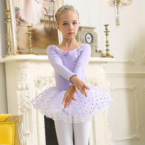 Lilac Ballet Children Dance Costumes Chiffon Genadine Bitter Fleabane Skirt Short Sleeve of Dress pictures & photos