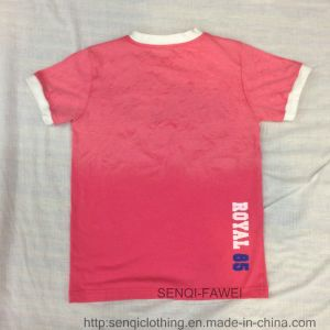 Red Die Washed Boy Soft T-Shirt in Kids Clothes Sq-6225 pictures & photos