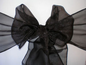 Black Organza Sash, Organza Chair Sash