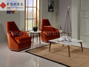 Elliptical Coffee Table with Nature Marble and Steel Leg pictures & photos