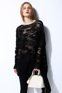 Fashion Mohair Loose Soft Ladies Knit Pullover Sweater pictures & photos