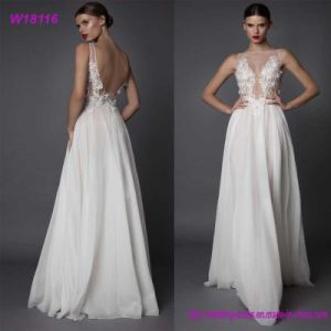 Modern White Elegant Wedding Dress Floor Length Train Wedding Dresses pictures & photos