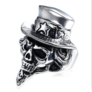 316L Stainless Steel Fashion Hat Skull Ring Jewelry